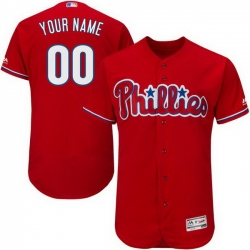 Men Women Youth All Size Philadelphia Phillies Majestic Alternate Scarlet Flex Base Custom Jersey Authentic