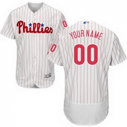 Men Women Youth All Size Philadelphia Phillies Majestic Home White Scarlet Flex Base Authentic Collection Custom Jersey