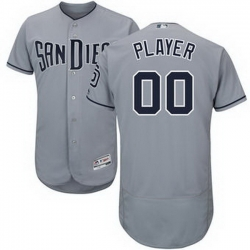Men Women Youth All Size San Diego Padres Majestic Gray Road Flex Base Authentic Collection Custom Jersey