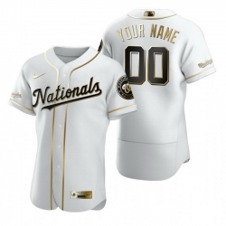Men Women Youth Toddler All Size Washington Nationals Custom Nike White Stitched MLB Flex Base Golden Edition Jersey
