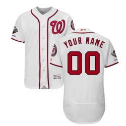 Men Women Youth Toddler All Size Washington Nationals Majestic 2019 World Series Champions Home Authentic Flex Base Custom White Jers