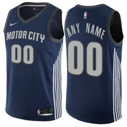 Men Women Youth Toddler All Size Nike Detroit Pistons Customized Authentic Navy Blue NBA City Edition Jersey