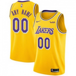 Men Women Youth Toddler All Size Nike Custom Los Angeles Lakers Gold NBA Swingman Icon Edition Jersey
