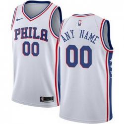 Men Women Youth Toddler All Size Nike Philadelphia 76ers Customized Swingman White Home NBA Association Edition Jersey