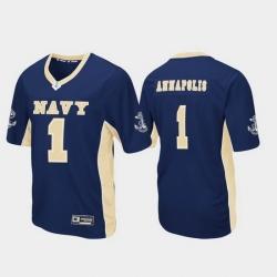 Men Navy Midshipmen 1 Navy Max Power Football Jersey