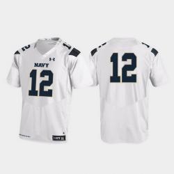 Men Navy Midshipmen 12 White Replica College Football Jersey
