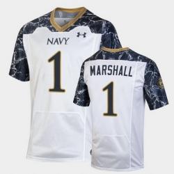 Men Navy Midshipmen John Marshall Special Game White Football Jersey
