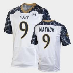 Men navy midshipmen maasai maynor special game white football jersey