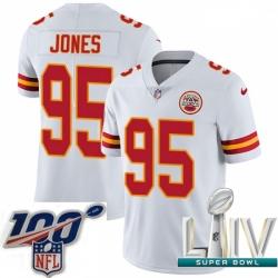 2020 Super Bowl LIV Men Nike Kansas City Chiefs #95 Chris Jones White Vapor Untouchable Limited Player NFL Jersey