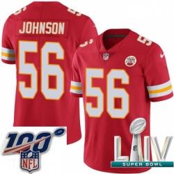 2020 Super Bowl LIV Youth Nike Kansas City Chiefs #56 Derrick Johnson Red Team Color Vapor Untouchable Limited Player NFL Jersey