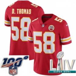 2020 Super Bowl LIV Youth Nike Kansas City Chiefs #58 Derrick Thomas Red Team Color Vapor Untouchable Limited Player NFL Jersey