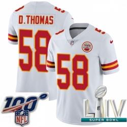 2020 Super Bowl LIV Youth Nike Kansas City Chiefs #58 Derrick Thomas White Vapor Untouchable Limited Player NFL Jersey