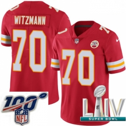 2020 Super Bowl LIV Youth Nike Kansas City Chiefs #70 Bryan Witzmann Red Team Color Vapor Untouchable Limited Player NFL Jersey