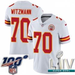 2020 Super Bowl LIV Youth Nike Kansas City Chiefs #70 Bryan Witzmann White Vapor Untouchable Limited Player NFL Jersey
