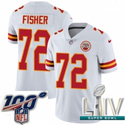 2020 Super Bowl LIV Youth Nike Kansas City Chiefs #72 Eric Fisher White Vapor Untouchable Limited Player NFL Jersey