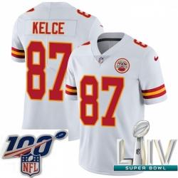 2020 Super Bowl LIV Youth Nike Kansas City Chiefs #87 Travis Kelce White Vapor Untouchable Limited Player NFL Jersey