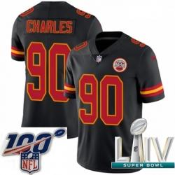 2020 Super Bowl LIV Youth Nike Kansas City Chiefs #90 Stefan Charles Limited Black Rush Vapor Untouchable NFL Jersey