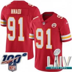 2020 Super Bowl LIV Youth Nike Kansas City Chiefs #91 Derrick Nnadi Red Team Color Vapor Untouchable Limited Player NFL Jersey