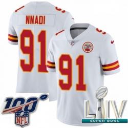 2020 Super Bowl LIV Youth Nike Kansas City Chiefs #91 Derrick Nnadi White Vapor Untouchable Limited Player NFL Jersey