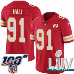 2020 Super Bowl LIV Youth Nike Kansas City Chiefs #91 Tamba Hali Red Team Color Vapor Untouchable Limited Player NFL Jersey