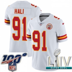 2020 Super Bowl LIV Youth Nike Kansas City Chiefs #91 Tamba Hali White Vapor Untouchable Limited Player NFL Jersey