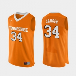 Men Tennessee Volunteers Brock Jancek Orange Authentic Performace College Basketball Jersey