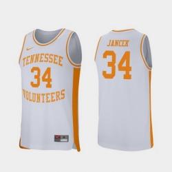 Men Tennessee Volunteers Brock Jancek White Retro Performance College Basketball Jersey