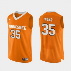 Men Tennessee Volunteers Yves Pons Orange Authentic Performace College Basketball Jersey