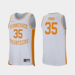 Men Tennessee Volunteers Yves Pons White Retro Performance College Basketball Jersey