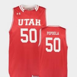 Men Utah Utes Christian Popoola Red Replica College Basketball Jersey