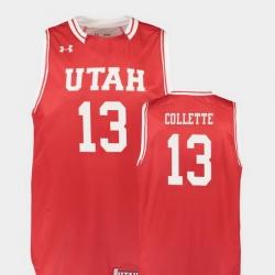 Men Utah Utes David Collette Red Replica College Basketball Jersey