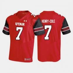 Men Utah Utes Devonta'E Henry Cole College Football Red Jersey