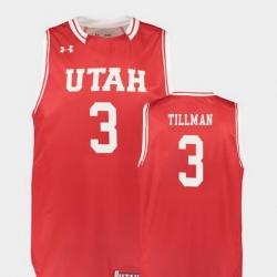 Men Utah Utes Donnie Tillman Red Replica College Basketball Jersey