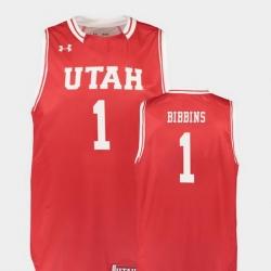 Men Utah Utes Justin Bibbins Red Replica College Basketball Jersey