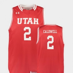 Men Utah Utes Kolbe Caldwell Red Replica College Basketball Jersey