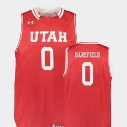 Men Utah Utes Sedrick Barefield Red Replica College Basketball Jersey
