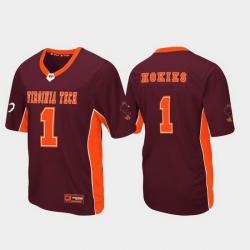Men Virginia Tech Hokies 1 Maroon Max Power Football Jersey
