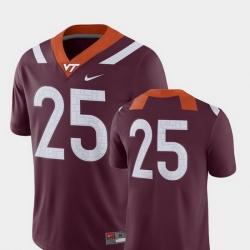 Men Virginia Tech Hokies 25 Maroon College Football 2018 Game Jersey