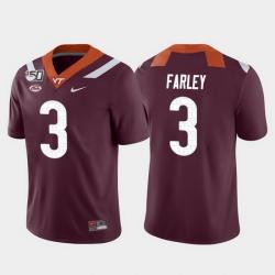 Men Virginia Tech Hokies Caleb Farley 3 Maroon Game College Football Jersey