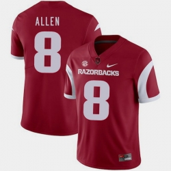 Men Arkansas Razorbacks Austin Allen Cardinal College Football 2018 Game Jersey