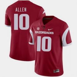 Men Arkansas Razorbacks Brandon Allen Cardinal College Football 2018 Game Jersey