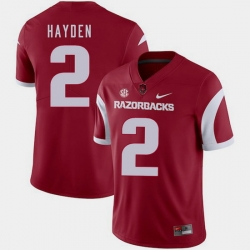 Men Arkansas Razorbacks Chase Hayden Cardinal College Football 2018 Game Jersey