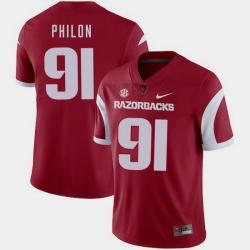Men Arkansas Razorbacks Darius Philon Cardinal College Football 2018 Game Jersey