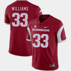 Men Arkansas Razorbacks David Williams Cardinal College Football 2018 Game Jersey