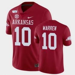Men Arkansas Razorbacks De'Vion Warren College Football Cardinal Game Jersey