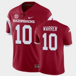 Men Arkansas Razorbacks De'Vion Warren College Football Cardinal Playoff Game Jersey