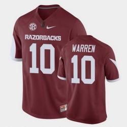 Men Arkansas Razorbacks De'Vion Warren Game Cardinal Replica Football Jersey