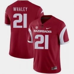 Men Arkansas Razorbacks Devwah Whaley Cardinal College Football 2018 Game Jersey