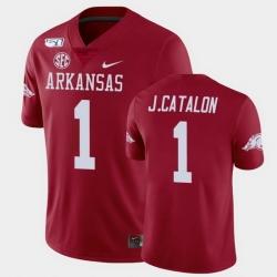 Men Arkansas Razorbacks Jalen Catalon College Football Cardinal Game Jersey