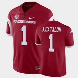 Men Arkansas Razorbacks Jalen Catalon College Football Cardinal Playoff Game Jersey